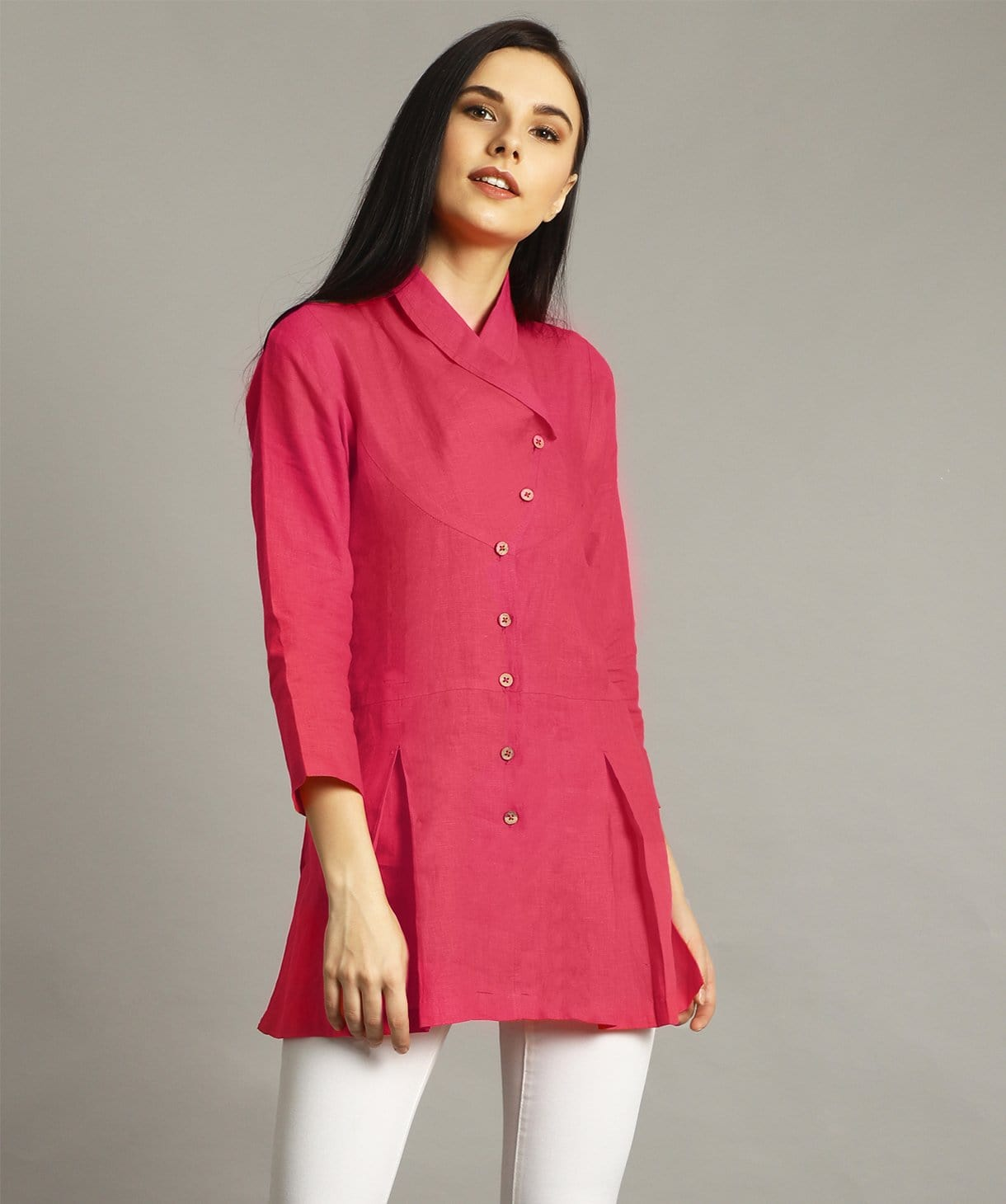 Pink Wrap Collar Neck Linen Tunic