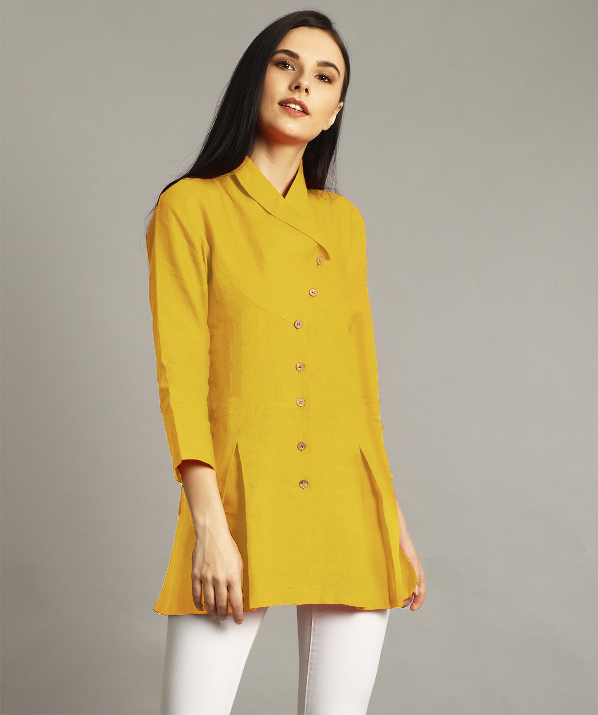 Uptownie Plus Mustard Wrap Collar Neck Linen Tunic. FLAT 200 OFF