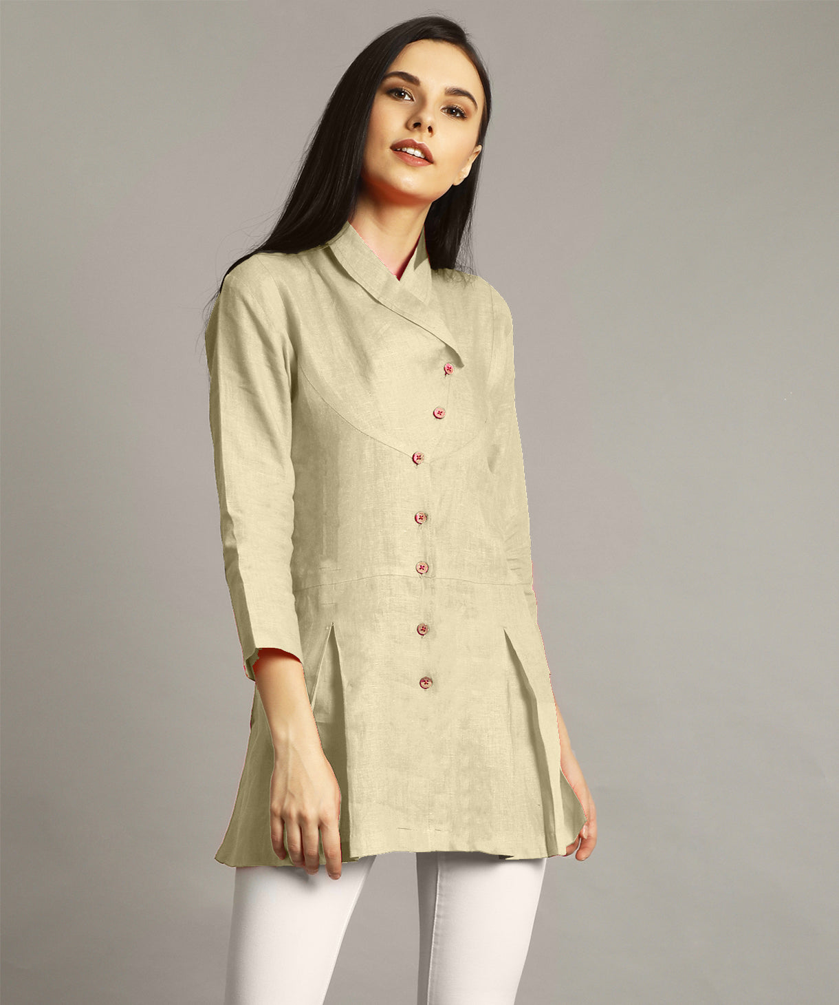 Uptownie Plus Off White Wrap Collar Neck Linen Tunic. FLAT 200 OFF
