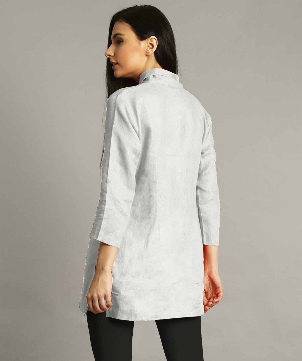 0a1ee2d4992 White Wrap Collar Neck Linen Maternity Tunic – Uptownie