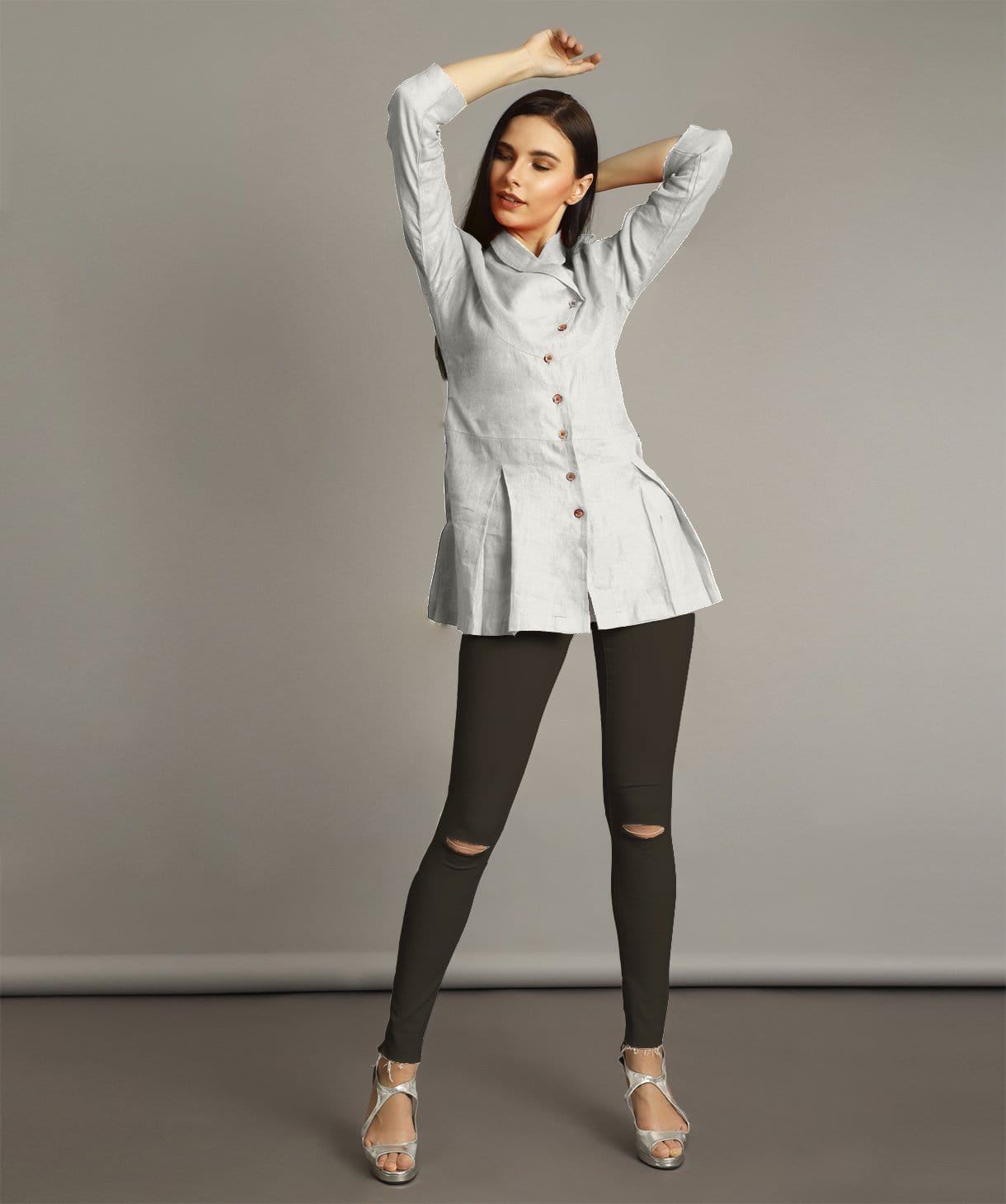 6f00a6137a6 FLAT 200 OFF · Uptownie Plus White Wrap Collar Neck Linen Tunic.