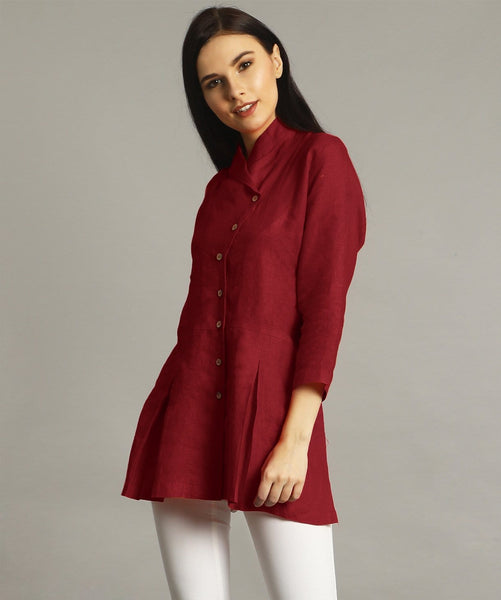 Maroon Wrap Collar Neck Linen Tunic