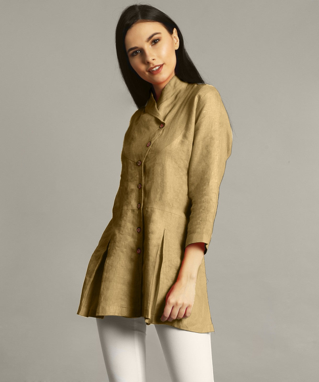 Uptownie Plus Yellow Ochre Wrap Collar Neck Linen Tunic 1 trendsale