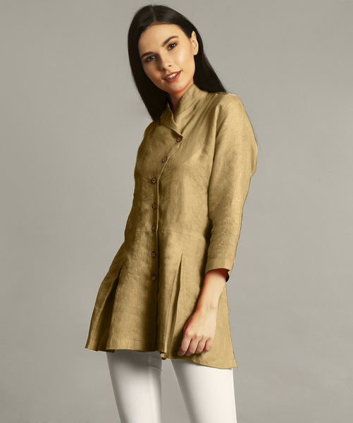 Yellow Ochre Wrap Collar Neck Linen Tunic