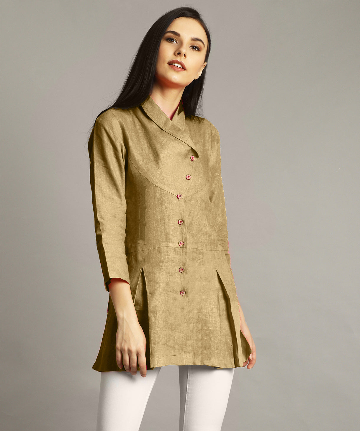 Uptownie Plus Yellow Ochre Wrap Collar Neck Linen Tunic 2 trendsale
