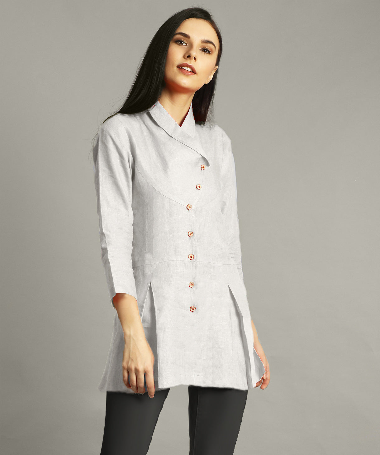 Uptownie Plus White Wrap Collar Neck Linen Tunic. FLAT 200 OFF