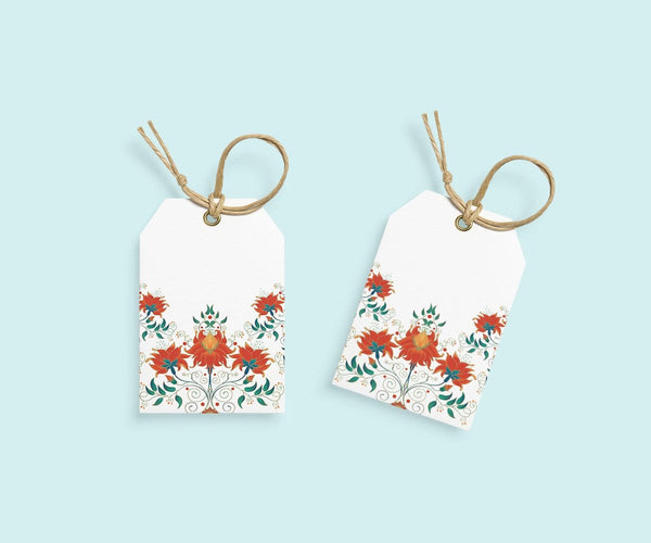 Orange Floral Gift Tags(set of 10)(Personalisation Available) - Uptownie