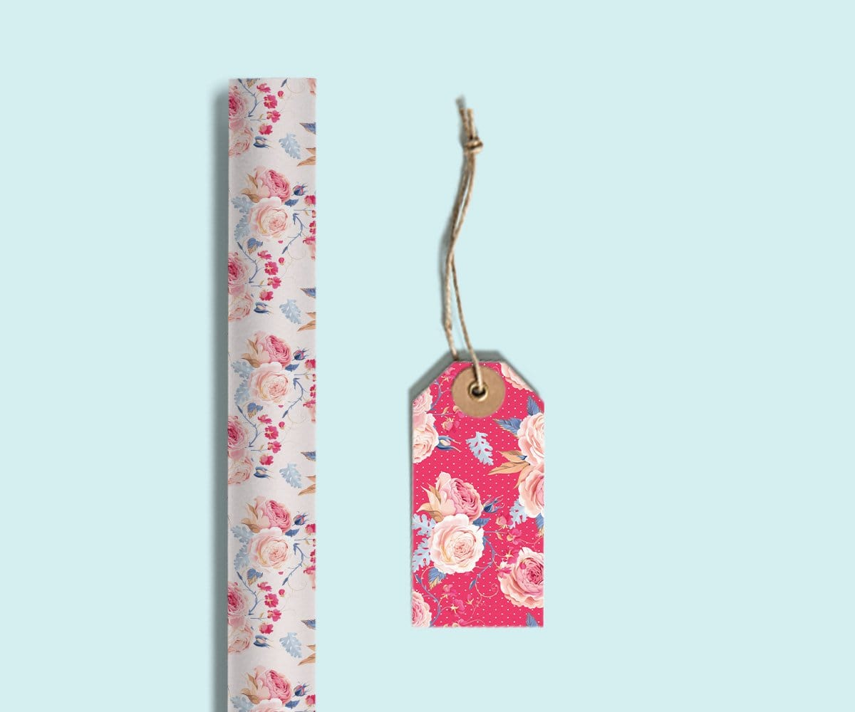 Pink Roses Gift Tags(set of 10)(Personalisation Available) - Uptownie