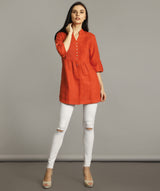 Uptownie Plus Coral Wrap Collar Neck Linen Tunic 2 summer sale