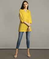 Uptownie Plus Mustard Polo Neck Linen Tunic 5 summer sale