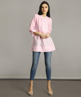 Uptownie Plus Baby Pink Mandarin Pleated Neck Tunic. FLAT 200 OFF