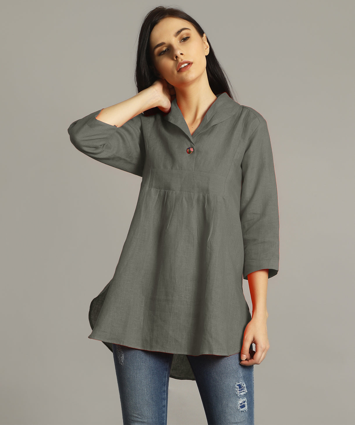 Grey High-Low Handloom Tunic - Uptownie