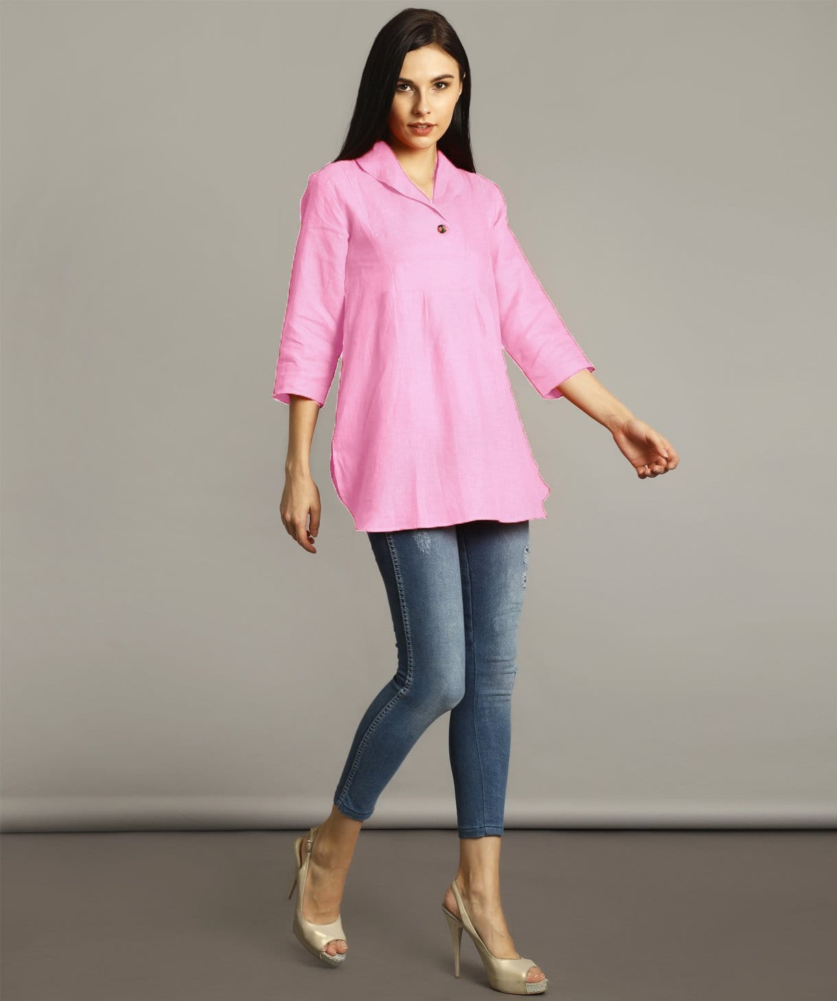 Baby Pink High-Low Handloom Tunic