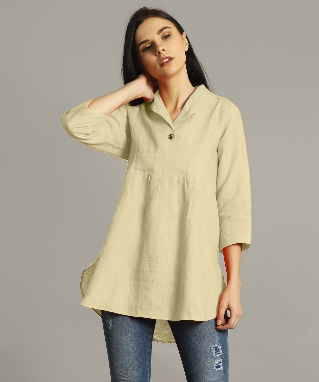 Off White High-Low Handloom Tunic - Uptownie