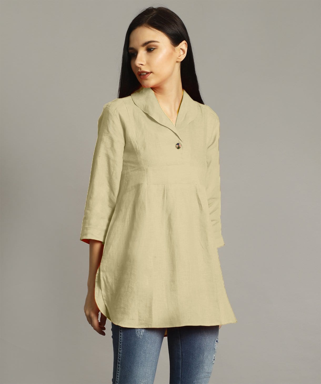 Uptownie Plus Off White High-Low Handloom Tunic. FLAT 200 OFF
