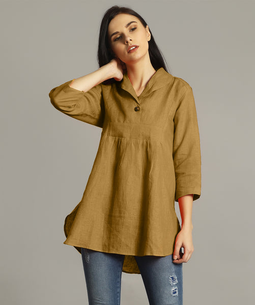 Yellow Ochre High-Low Handloom Tunic