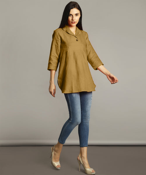 Yellow Ochre High-Low Handloom Tunic - Uptownie