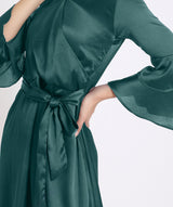 Solid Green Satin Skater Dress - Uptownie