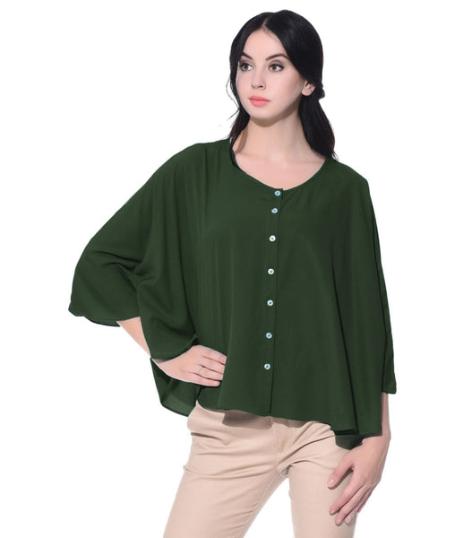 Army Green Buttoned Crepe Cape Top