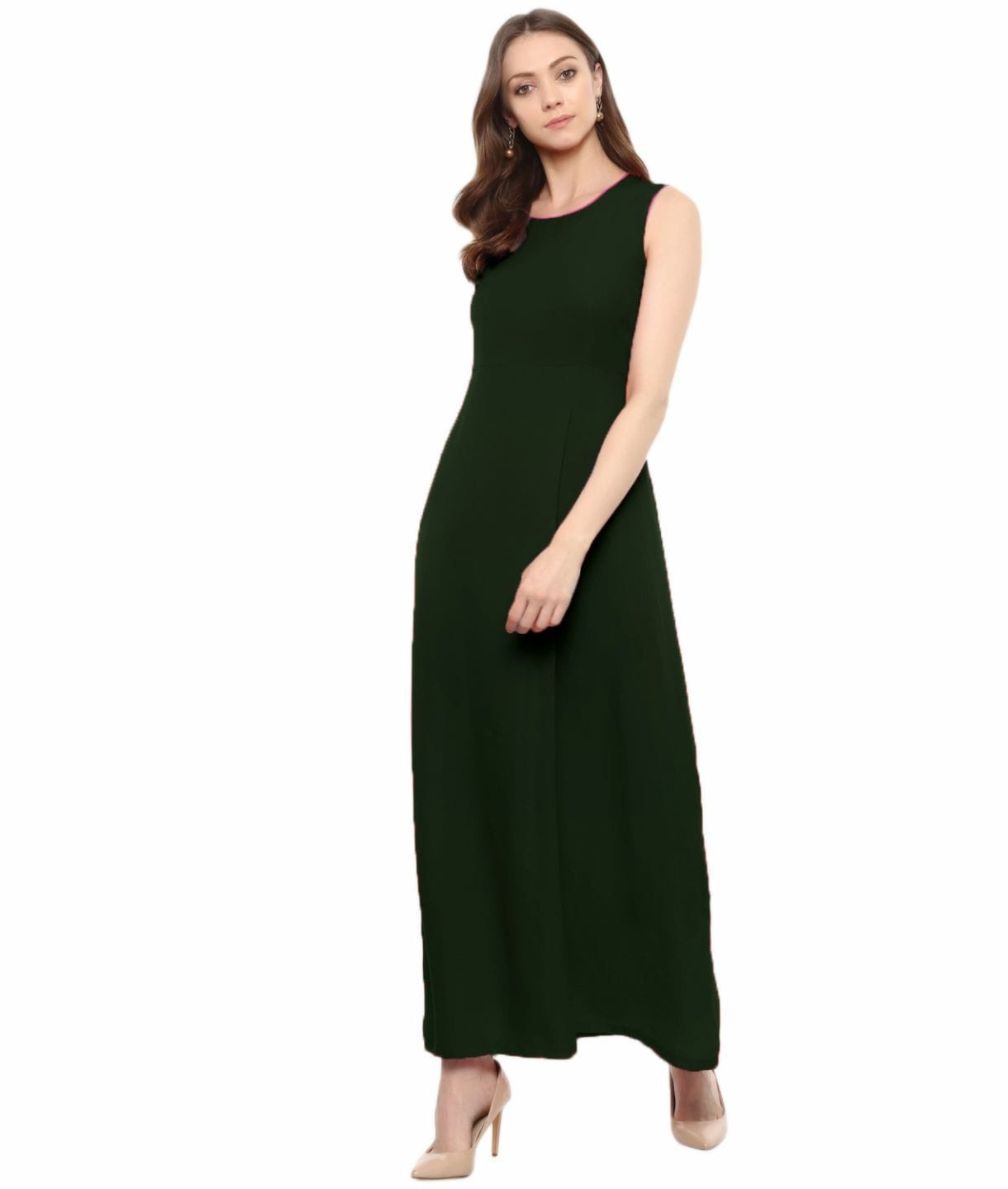 Uptownie Plus Army Green Solid Sleeveless Crepe Maxi Dress/Gown