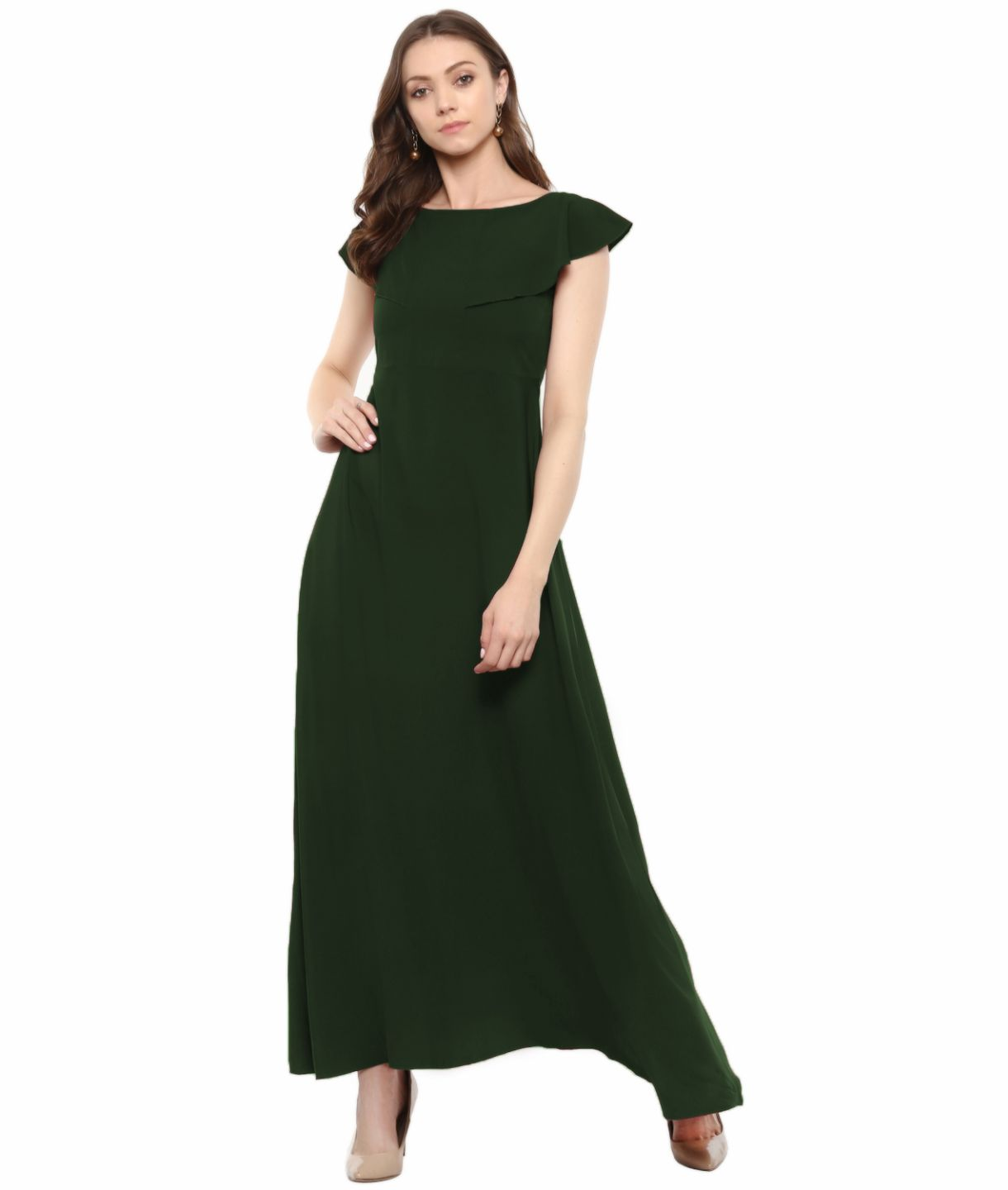 Uptownie Plus Army Green Solid Crepe Ruffled Maxi Dress/Gown