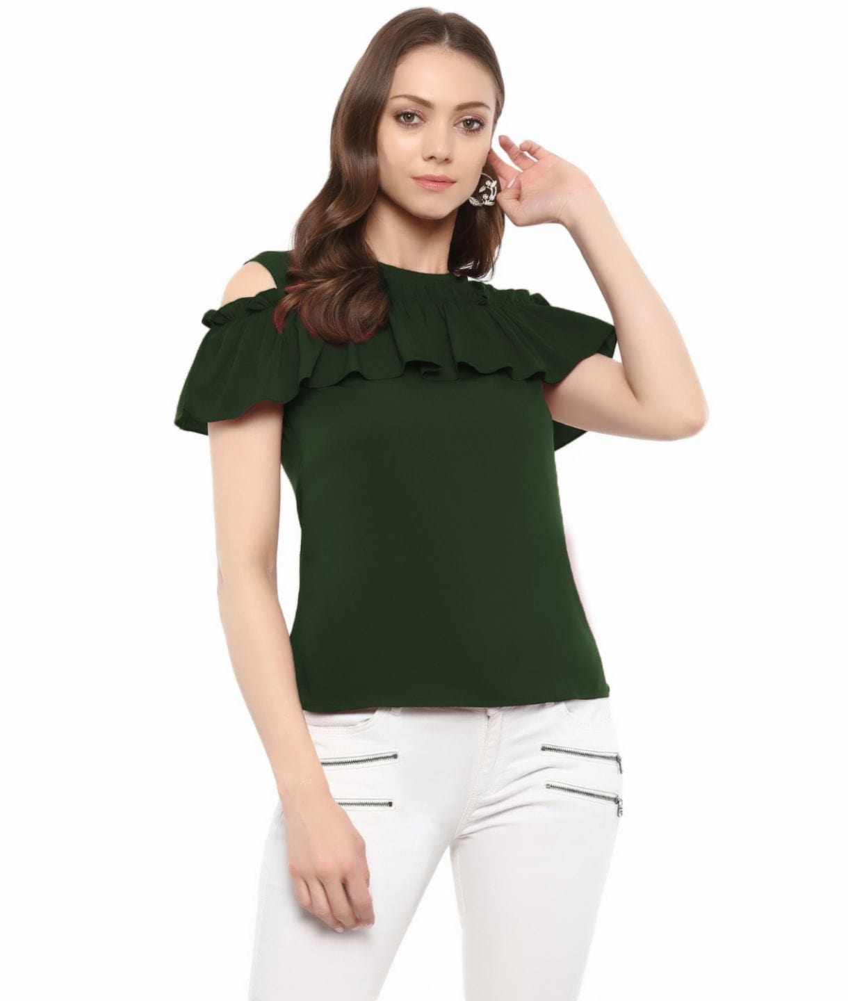 Green Solid Crepe Ruffled Cold Shoulder Top