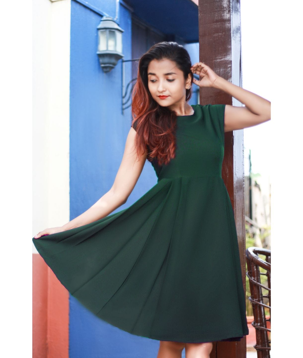 Uptownie Plus Army Green Solid Cap Sleeves Skater Dress