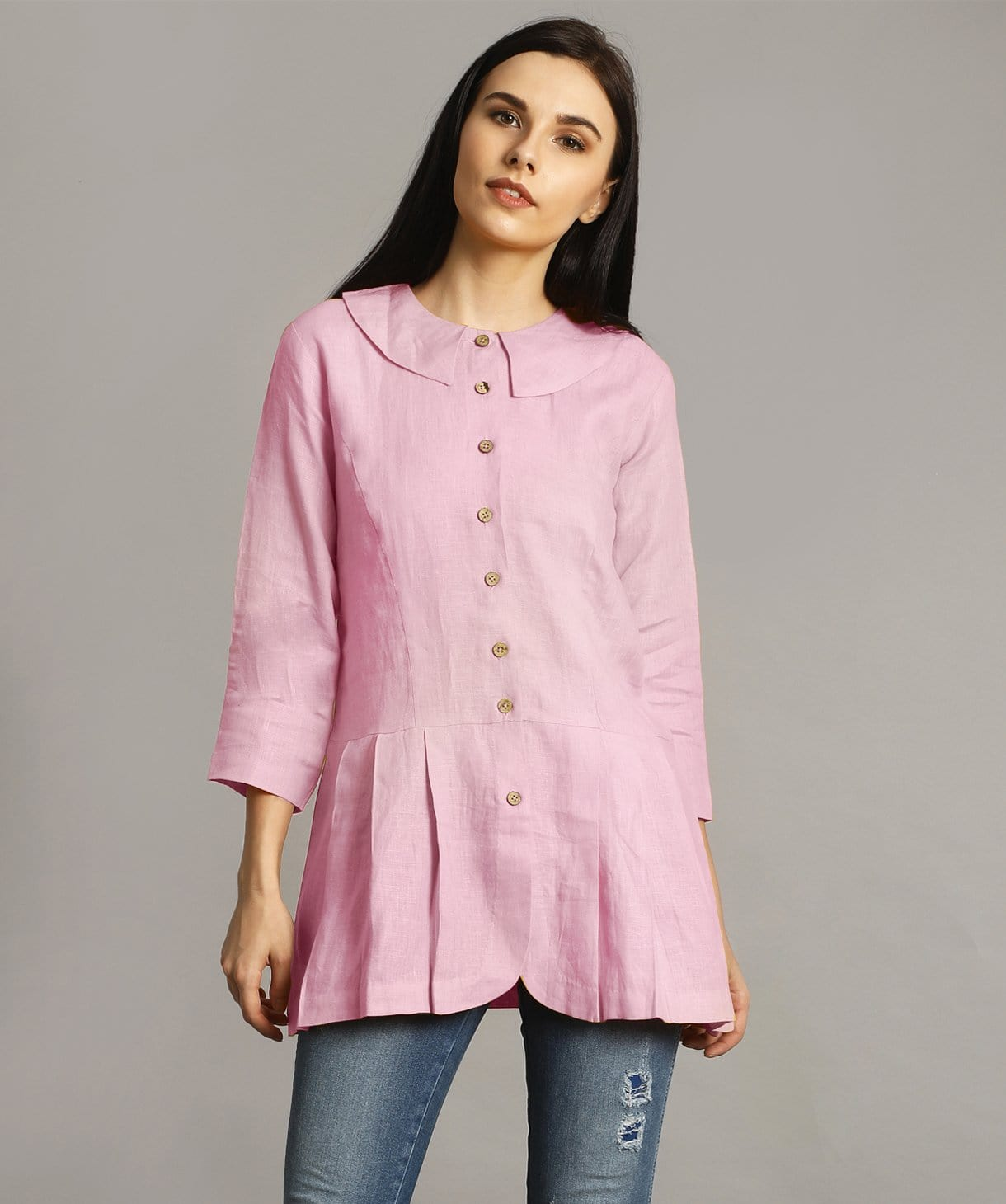 Lavender Peter Pan Neck Linen Tunic