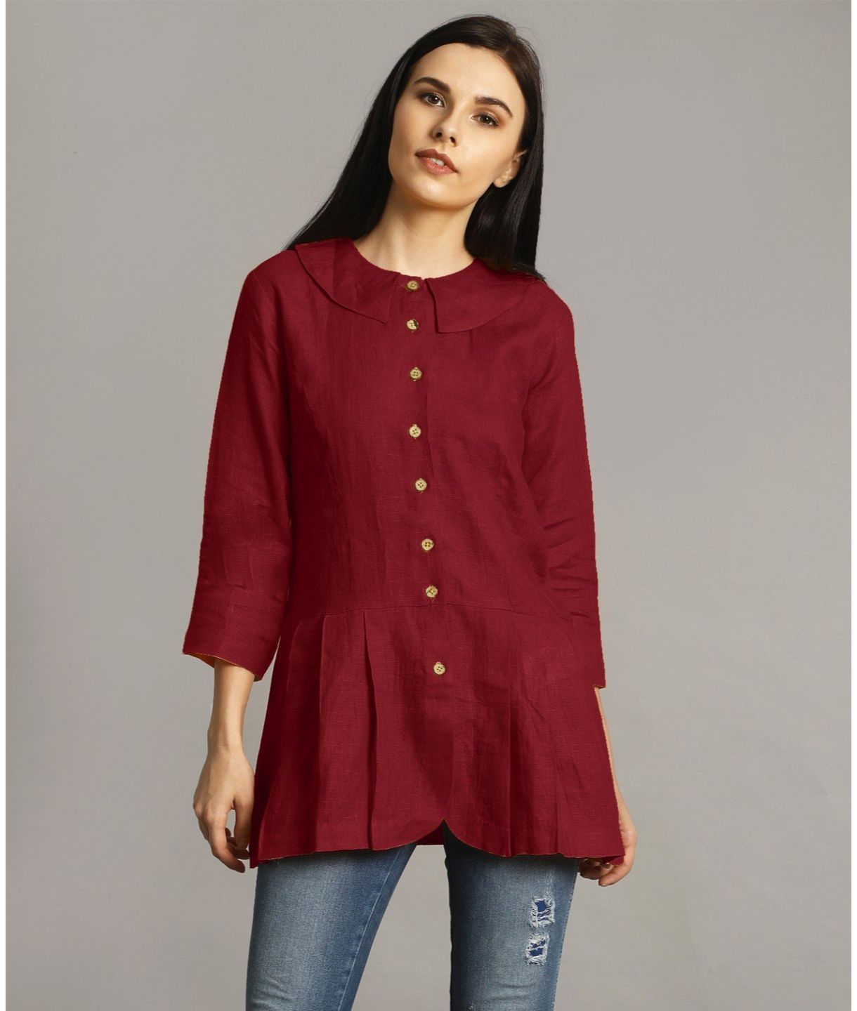 Maroon Peter Pan Neck Linen Tunic
