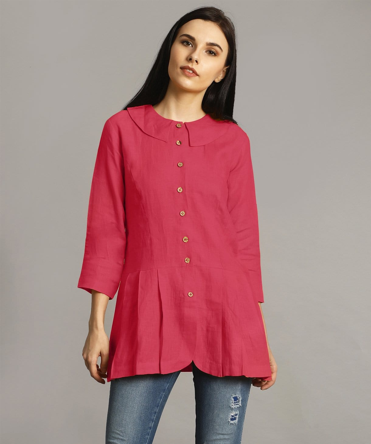 Red Peter Pan Neck Linen Tunic
