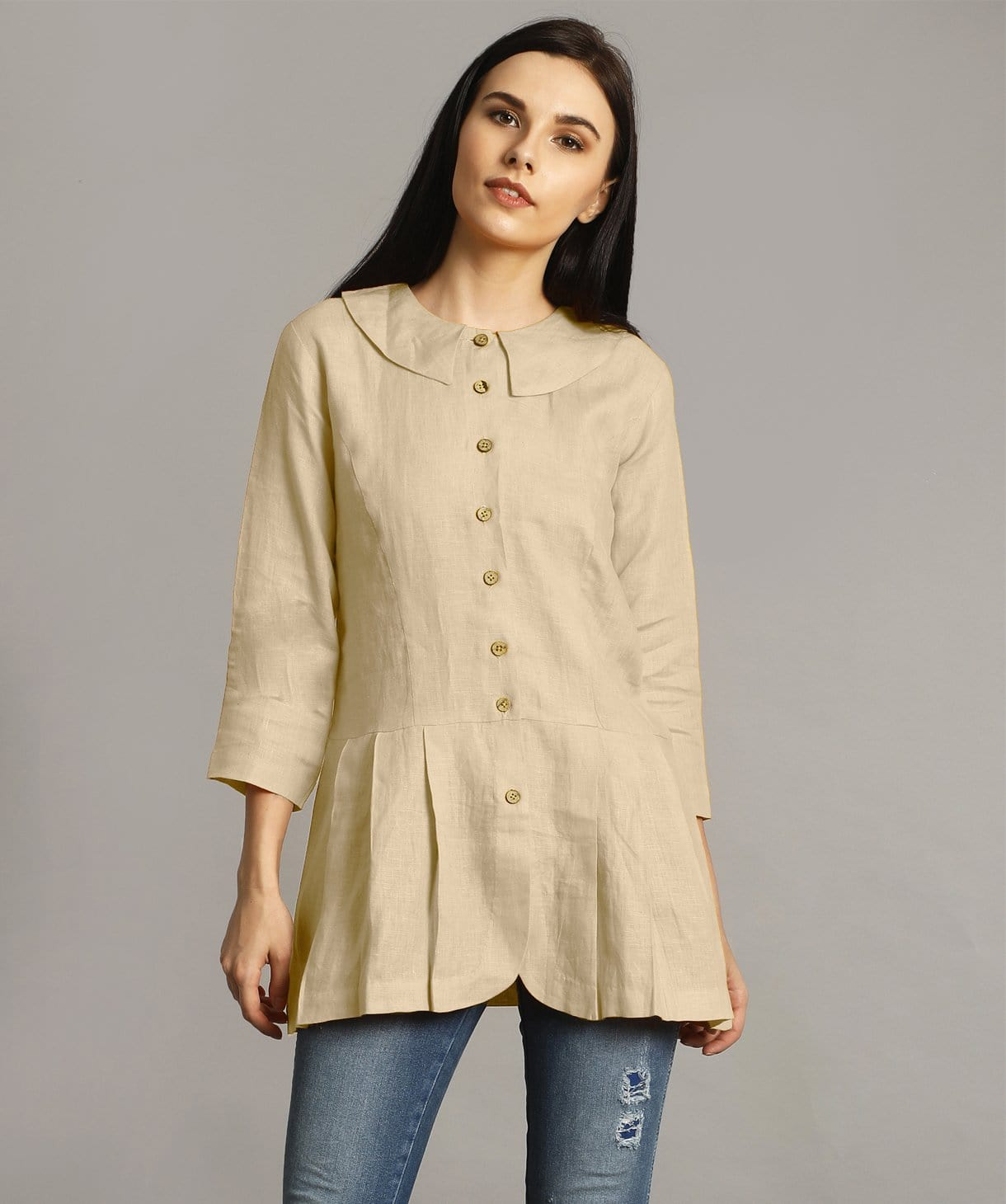 Off White Peter Pan Neck Linen Tunic