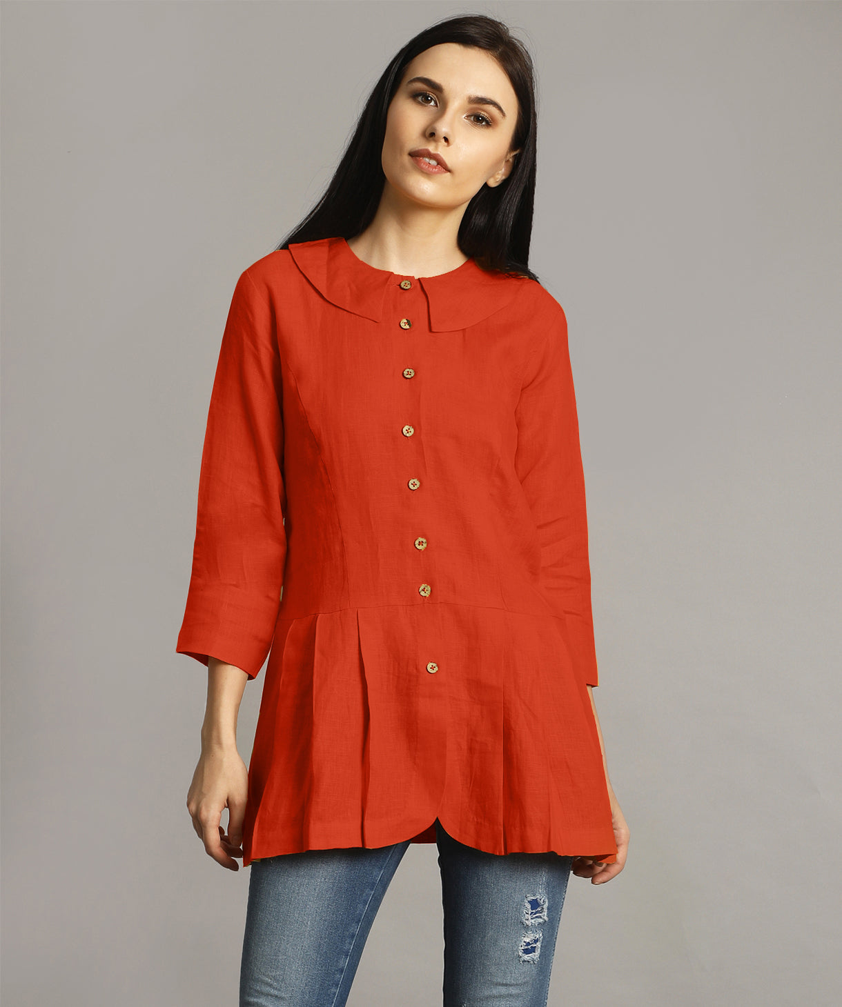 Uptownie Plus Rust Peter Pan Neck Linen Tunic 1 clearance sale
