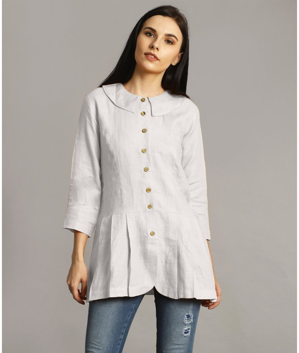 White Peter Pan Neck Linen Tunic
