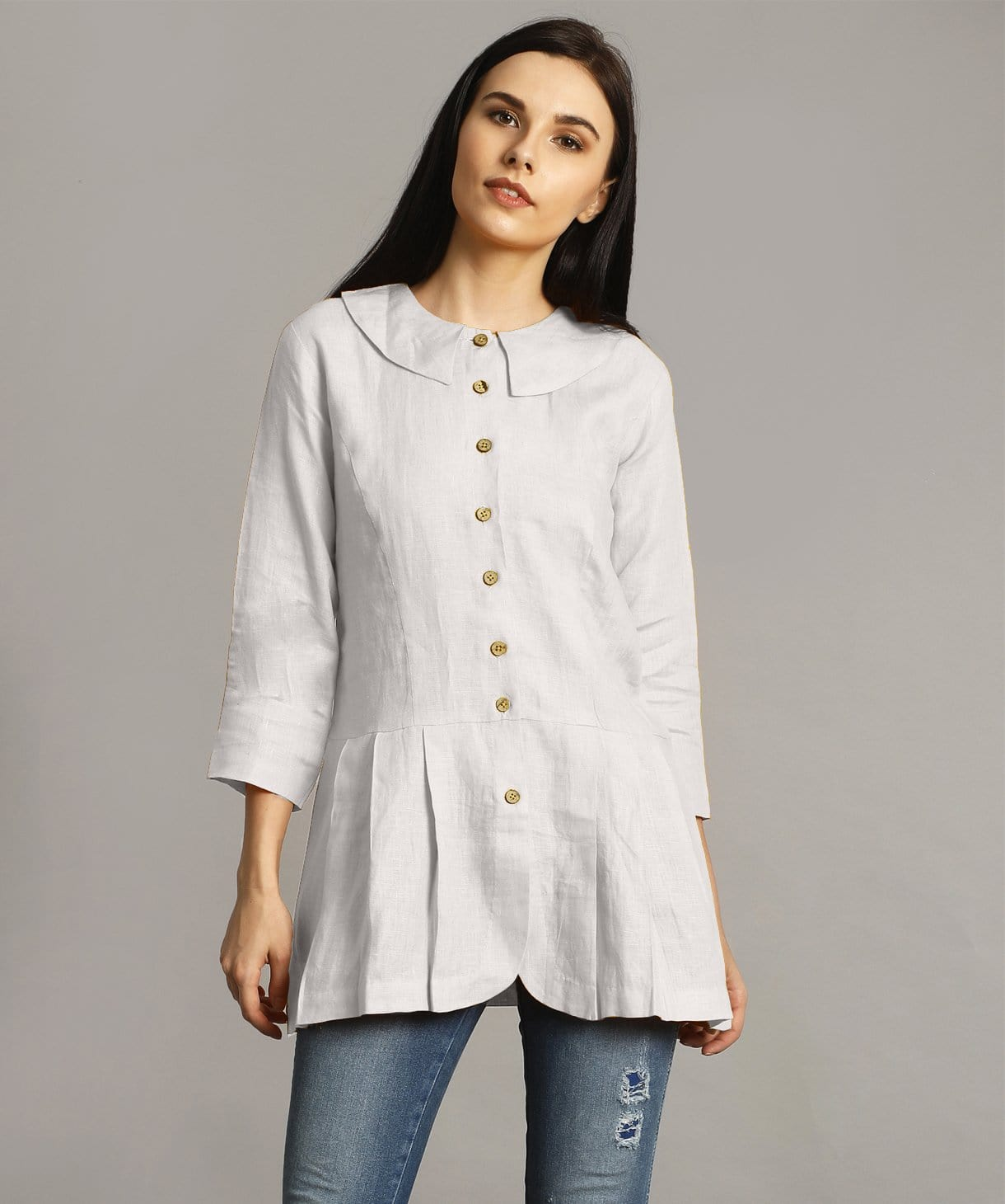 Uptownie Plus White Peter Pan Neck Linen Tunic. FLAT 200 OFF
