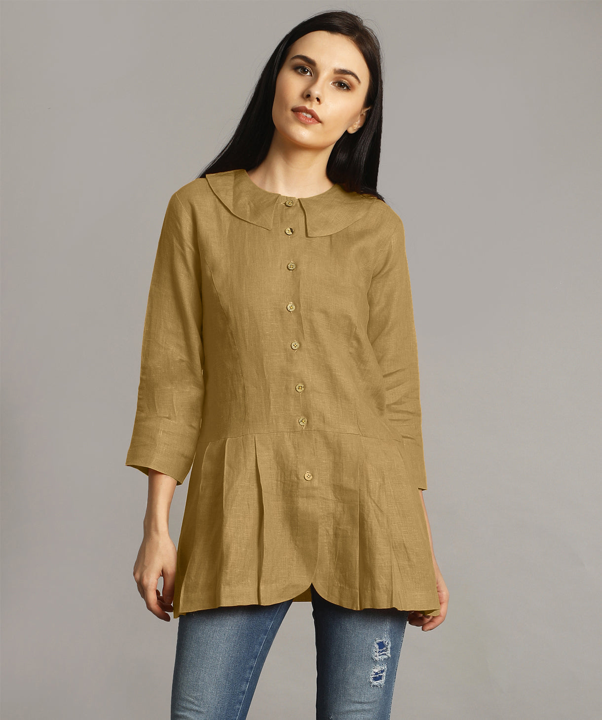 Yellow Ochre Peter Pan Neck Linen Tunic
