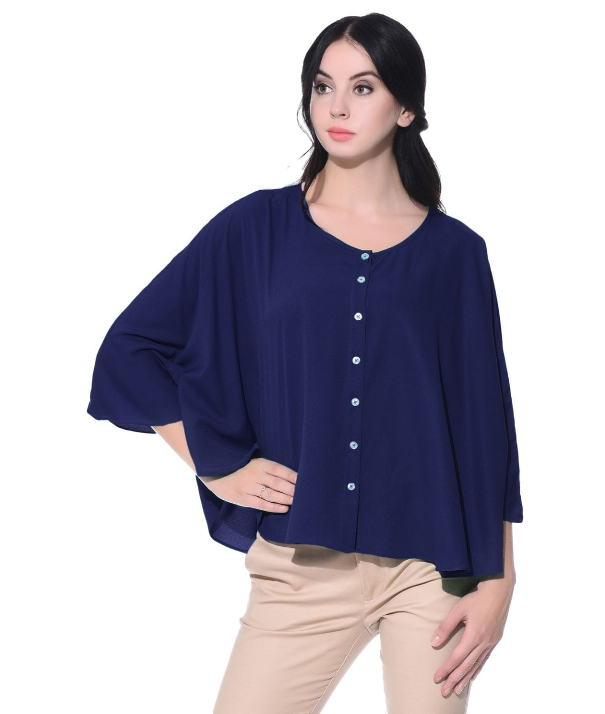 Navy Blue Buttoned Crepe Cape Top