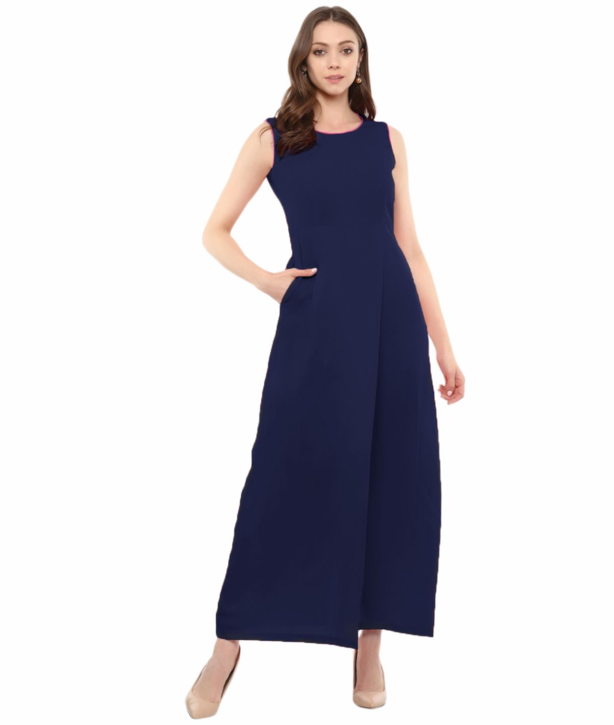 Uptownie Plus Navy Blue Solid Sleeveless Crepe Maxi Dress/Gown