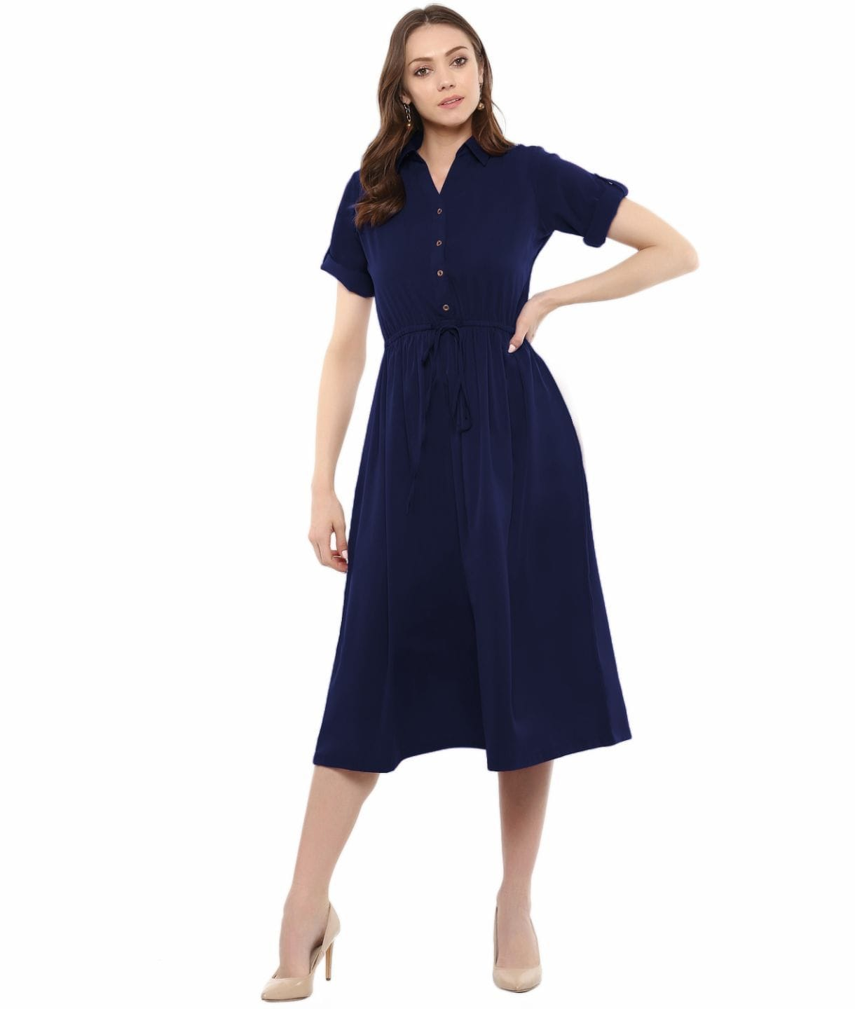 Navy Blue Solid Crepe Collar 3/4th Sleeves Maternity Dress