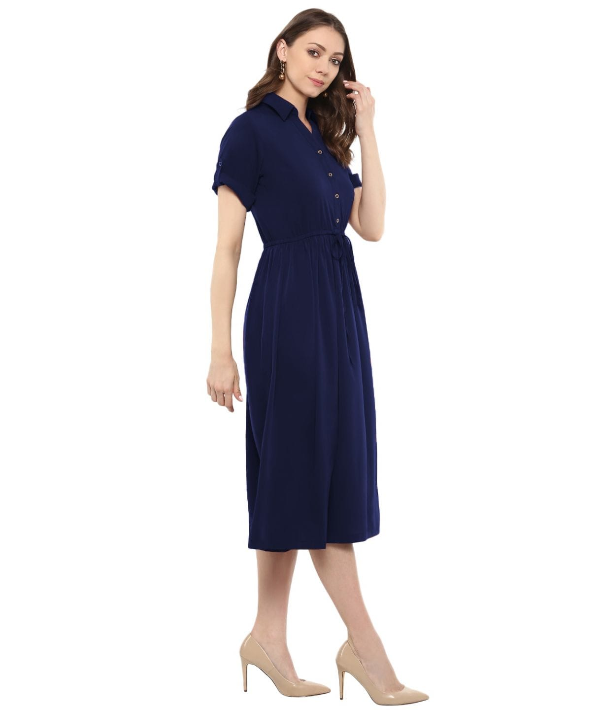 Uptownie Plus Navy Blue Solid Crepe Collar 3/4th Sleeves Skater Dress