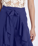 Solid Blue Flared Ruffle Pants
