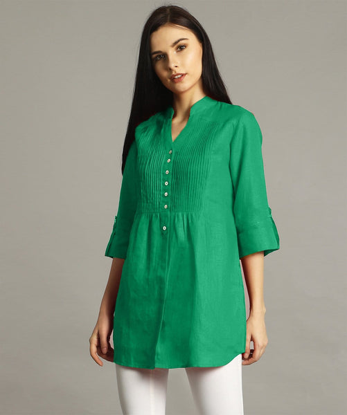 Green Pleated Yoke Roll-Up Tunic