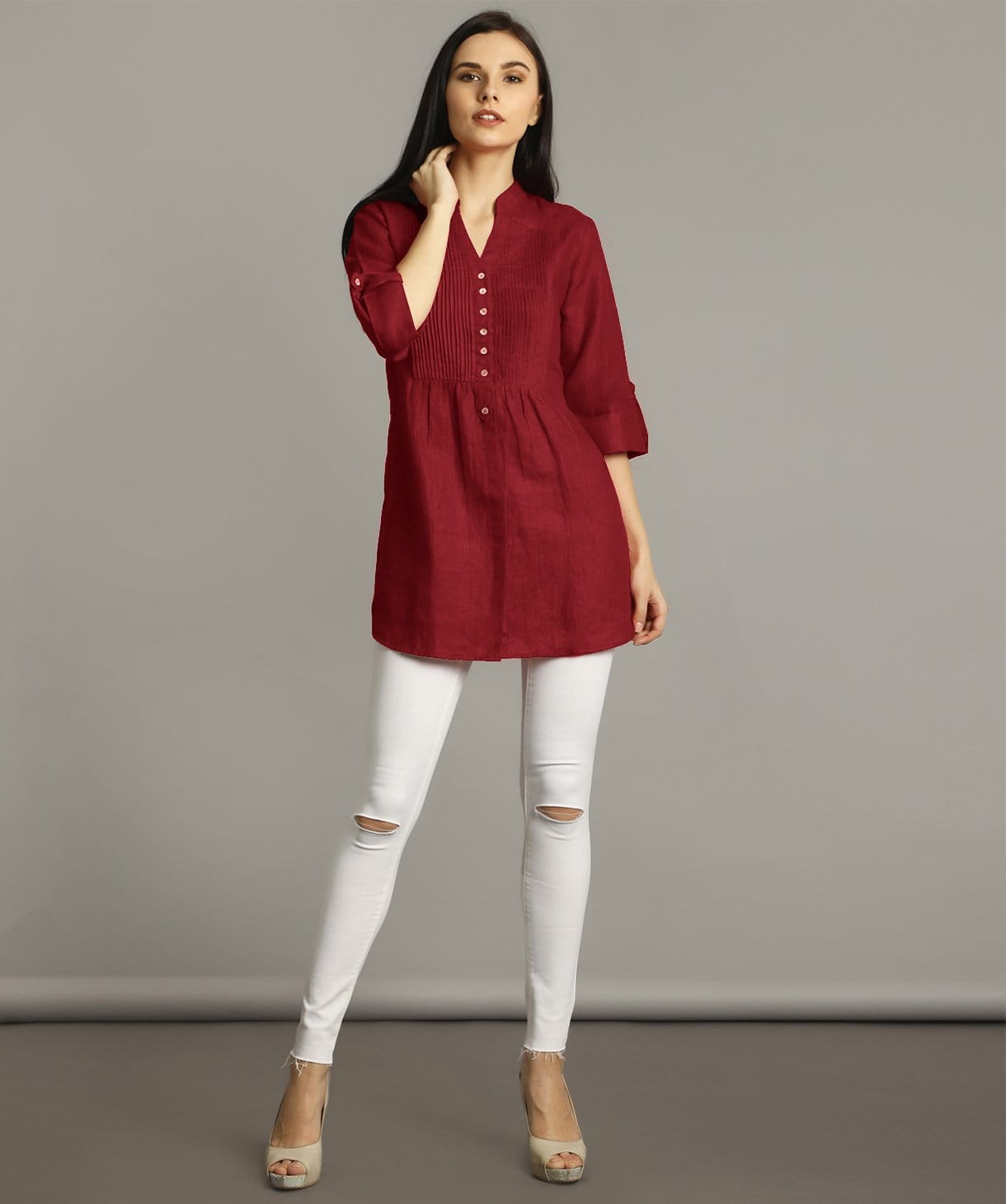 Maroon Pleated Yoke Roll Up Tunic