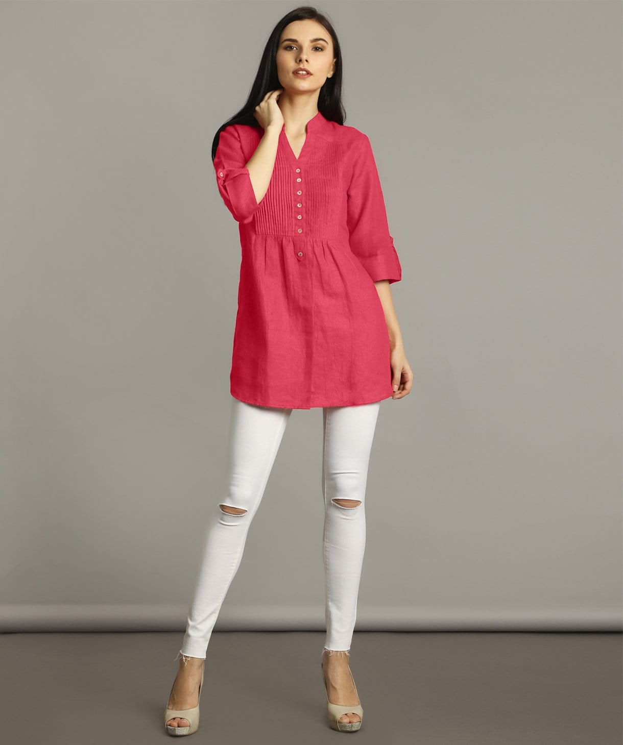 Pink Pleated Yoke Roll-Up Tunic