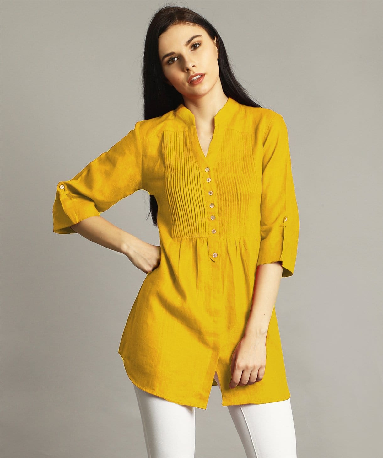 Mustard Pleated Yoke Roll-Up Tunic