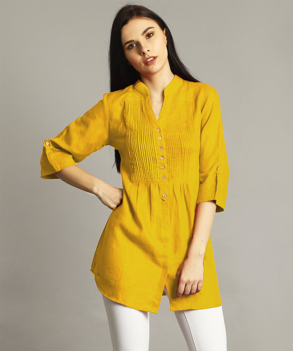 Uptownie Plus Mustard Pleated Yoke Roll-Up Tunic. EXTRA 18% OFF