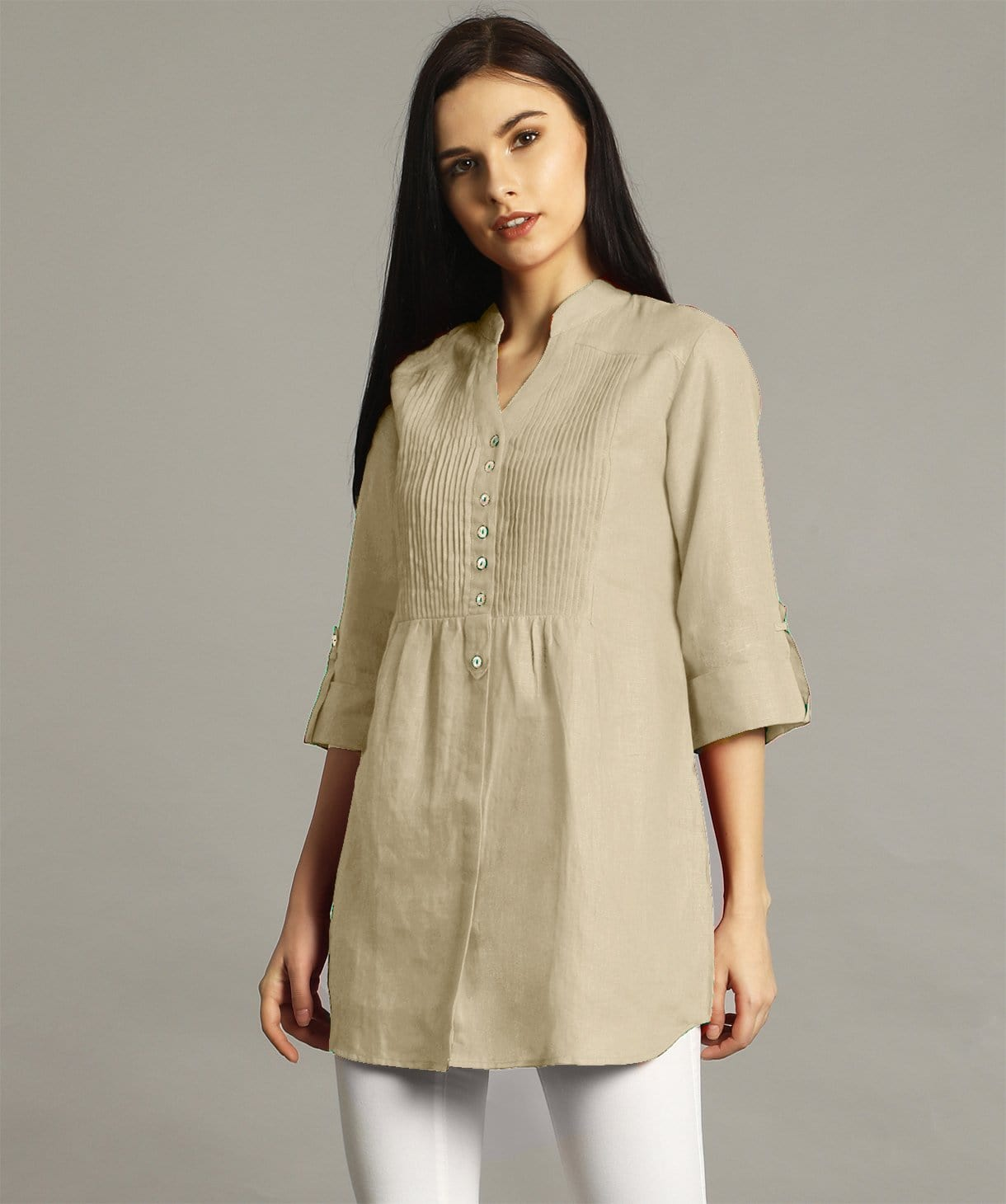 Off White Pleated Yoke Roll-Up Tunic - Uptownie