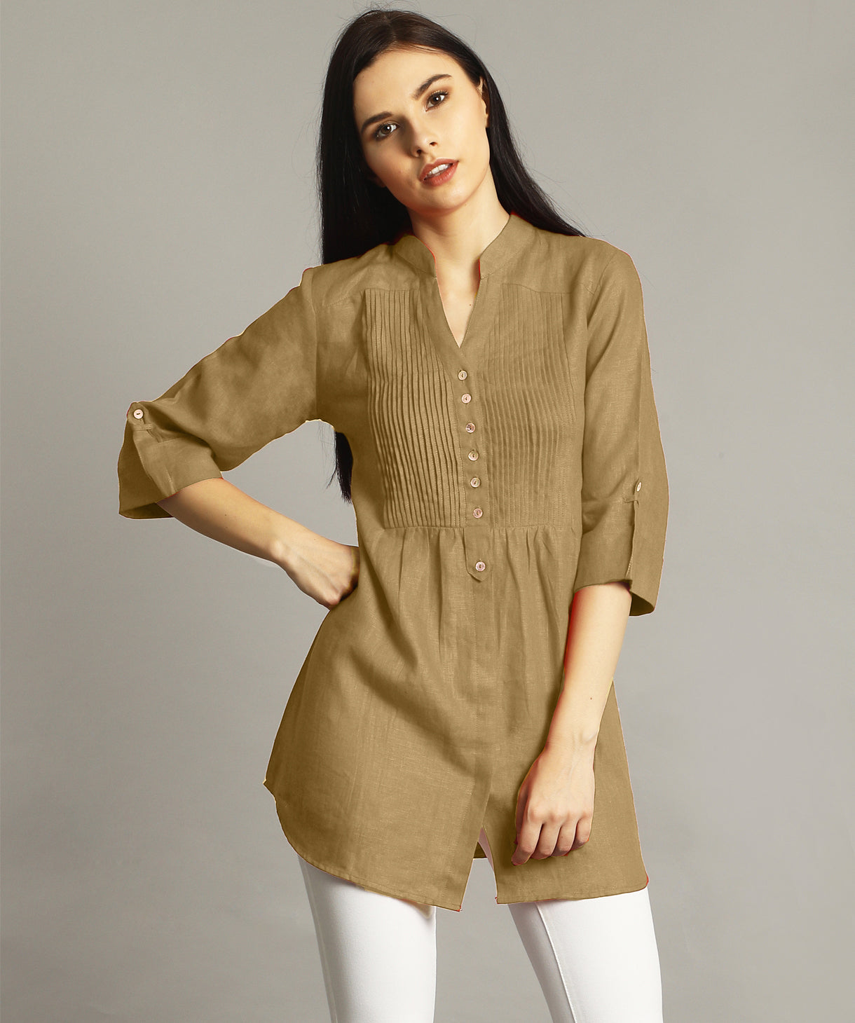 Yellow Ochre Pleated Yoke Roll-Up Tunic - Uptownie