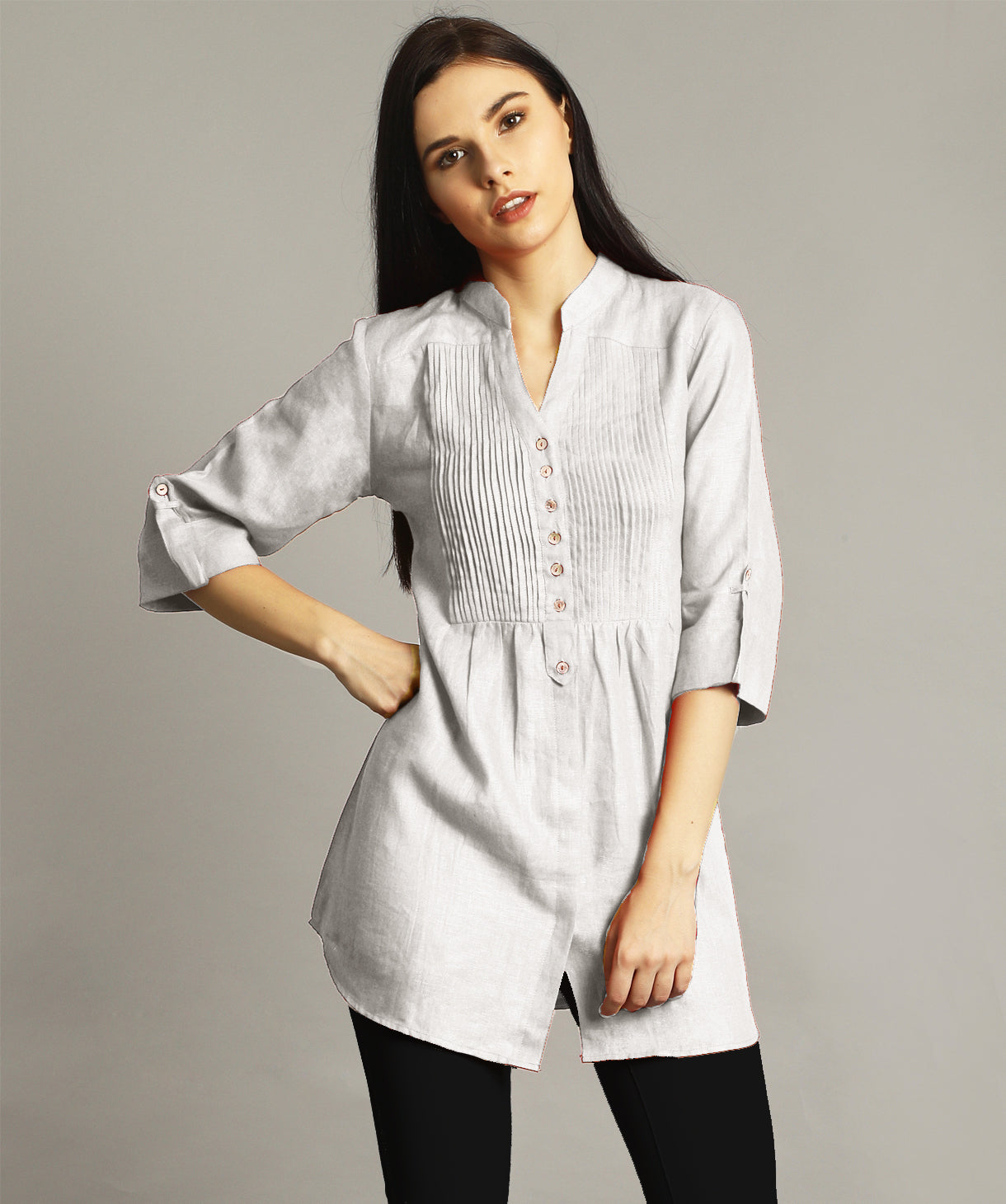 White Pleated Yoke Roll-Up Tunic - Uptownie