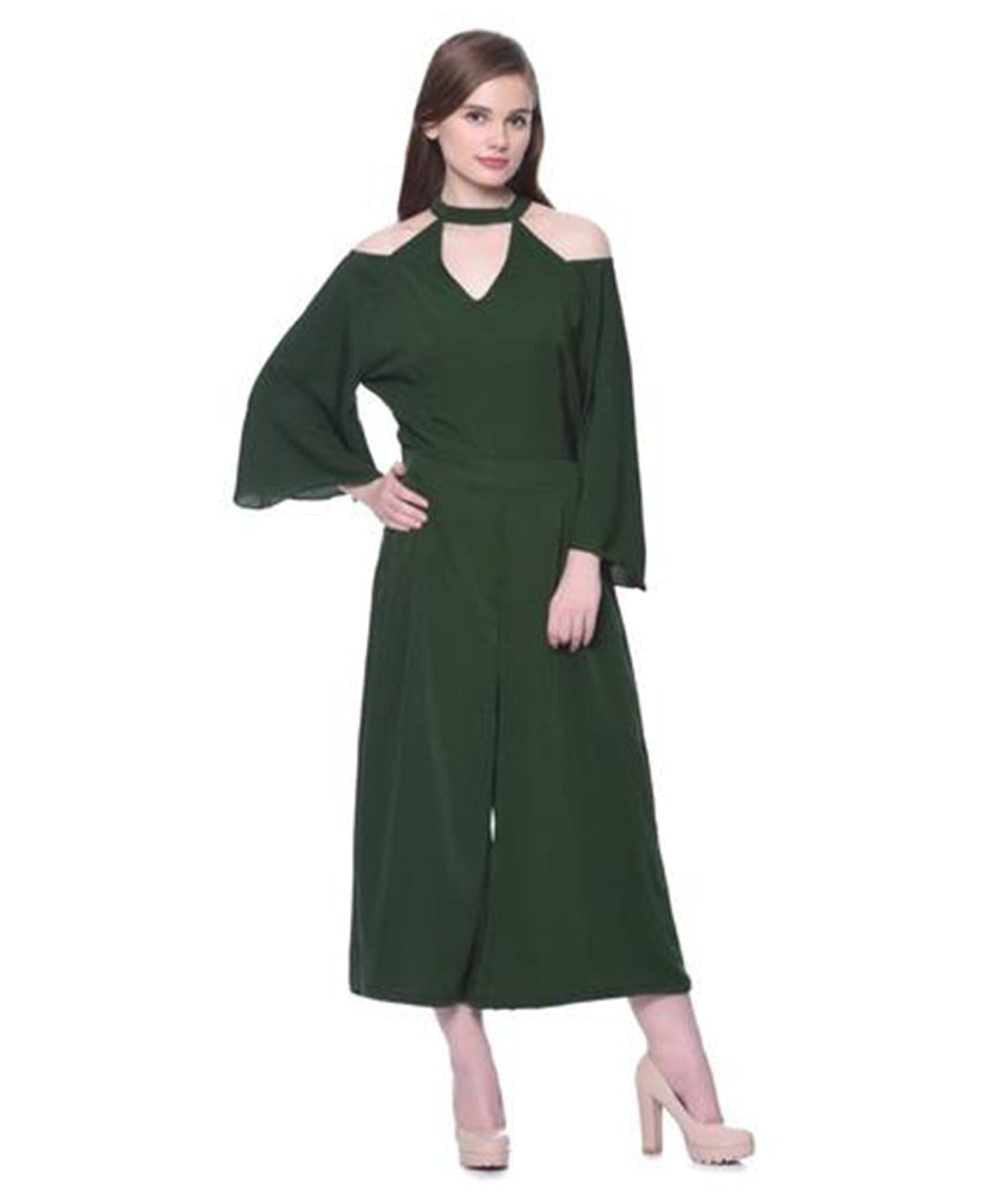 Green Choker Neck Cold Shoulder Culotte Jumpsuit - Uptownie