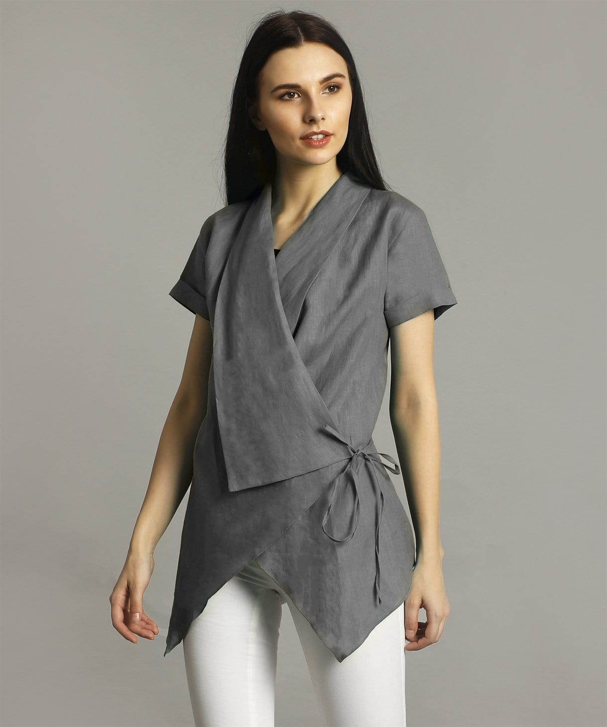 Grey Linen Wrap Shrug